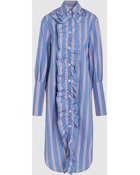 Marni | Ruffled Striped Cotton Shirt | Lyst