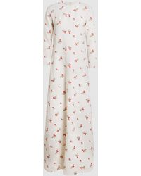 Co. Embroidered Flower Maxi Dress - White