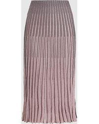 Cedric Charlier Pleated Metallic-knit Midi Skirt - Pink