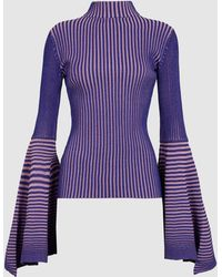 Solace London - Sattal Fluted Sleeve Turtleneck Top - Lyst