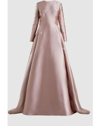 Reem Acra - Bow-detailed Sateen Gown - Lyst