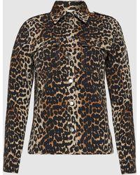 Ganni Leopard Print Cotton Shirt Jacket - Multicolour