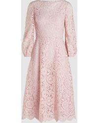 Valentino Long Sleeve Lace Midi Dress - Pink
