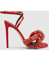 Marco De Vincenzo Knotted Crystal-embellished Satin Sandals Red