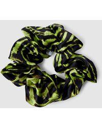 Ganni Lime Green Tiger Print Scrunchie
