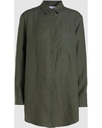 Asceno Boyfriend Linen Shirt - Green