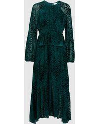 A.L.C. Kamari Devoré-chiffon Peplum Midi Dress Emerald - Green