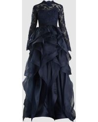 Reem Acra - Ruffled Lace And Tulle Gown - Lyst