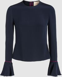 ROKSANDA Saba Mandarin Bell Sleeve Top - Blue