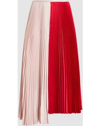 Cedric Charlier - Colour-block Pleated Midi Skirt - Lyst