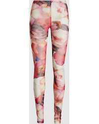 MSGM Floral Printed Mesh Leggings - Pink