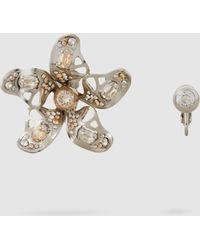 Lanvin - Cutout Embellished Silver-tone Earrings - Lyst