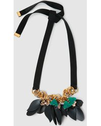 Marni - Gold-tone Crystal Leather Necklace - Lyst