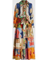 Rianna + Nina - Patchwork Vintage Silk Maxi Shirt Dress - Lyst