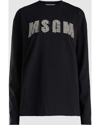 MSGM - Crystal-embellished Logo Cotton Sweatshirt - Lyst