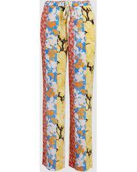 Stine Goya Aileen Floral Wallpaper Print Wide Leg Silk Pants - Multicolour