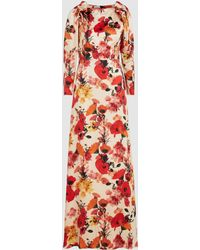 Mother Of Pearl Zula Floral Silk Maxi Dress - Red