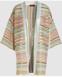Missoni Sequin Striped Front Open Cardigan - Multicolour