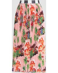 Stella Jean Hawaiian Print Pleated Contrast Waistband Skirt - Pink