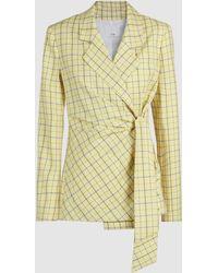 Tibi Marvel Plaid Wool-blend Wrap Blazer - Yellow