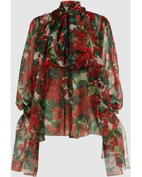 Dolce & Gabbana Draped Floral Print Silk Chiffon Blouse - Red
