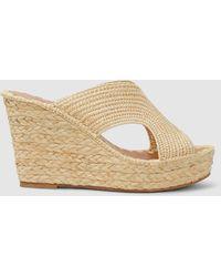 65fc503c7ec Jimmy Choo · Carrie Forbes - Lina Open Toe Raffia Wedge Sandals - Lyst