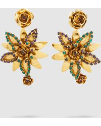 Erickson Beamon - Emerald + Crystal Flower Earrings - Lyst