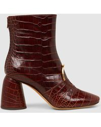 Ellery - Sonata Croc-effect Leather Ankle Boots - Lyst