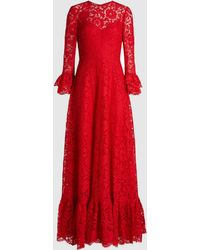 Valentino Flared Sleeve Viscose-cotton Blend Lace Gown