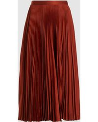 A.L.C. Rust Pleated Midi Skirt - Red