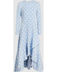 Oscar de la Renta Long Sleeve Polka Dot Wrap Dress - Blue