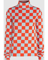 Jil Sander High Neck Checked-jersey Top - Red