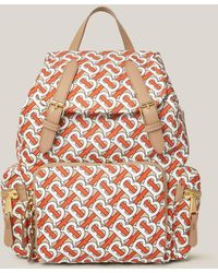 Burberry Tb Logo-print Leather-trimmed Mini Backpack - Multicolour