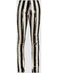 Marques'Almeida Two-tone Sequin Striped Bootcut Trousers - Black