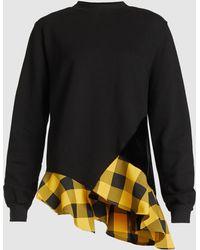 CLU - Gingham Ruffle Hem Sweatshirt - Lyst