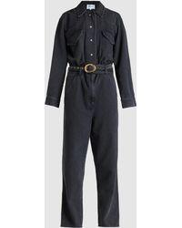 Nanushka Neza Belted Denim Jumpsuit - Black