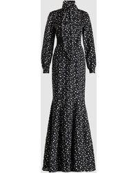 Safiyaa Polka Dot Bow Detail Crepe Dress - Black
