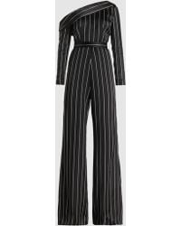 Safiyaa - One-shouldered Striped Satin Jumpsuit - Lyst