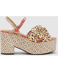 Castaner Woven Raffia Platform Sandals - Multicolour