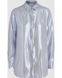 Alberta Ferretti - Silk Lamé Long-sleeve Shirt - Lyst