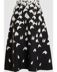 Valentino Snowdrop-print Wool-blend Crepe Midi Skirt - Black