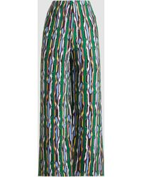 Solace London Zoya Pleated Georgette Wide-leg Pants - Green