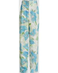Lemaire Floral Print Pleated Silk-blend Trousers - Blue
