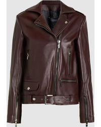 Nour Hammour Republique Oversized Leather Biker Jacket - Brown