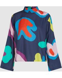 Mira Mikati Abstract Print Long Sleeve Cotton Top - Blue