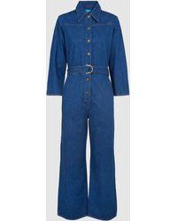 M.i.h Jeans Harper Belted Flared Jumpsuit - Blue