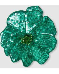 Racil Flower Sequinned Brooch - Green