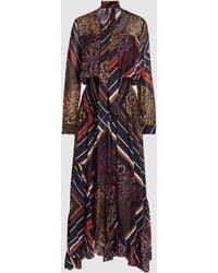 Preen Line - Elva Printed Pleated Georgette Maxi Dress - Lyst
