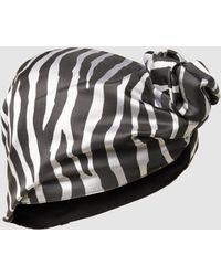Taller Marmo - Spirit Animal Zebra-print Satin Turban - Lyst
