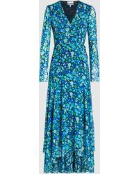 Ganni Floral Printed Ruffle Mesh Dress - Blue